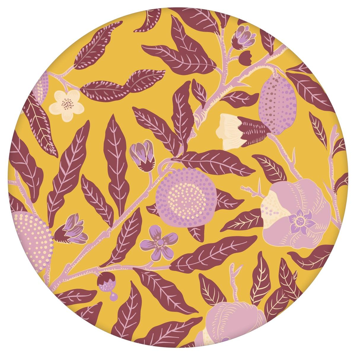 """Moderne Jugendstil Tapete """"Granatapfel Baum"""" nach William Morris, senf gelbe Vlies Tapete Natur Wanddeko für Schlafzimmer"""