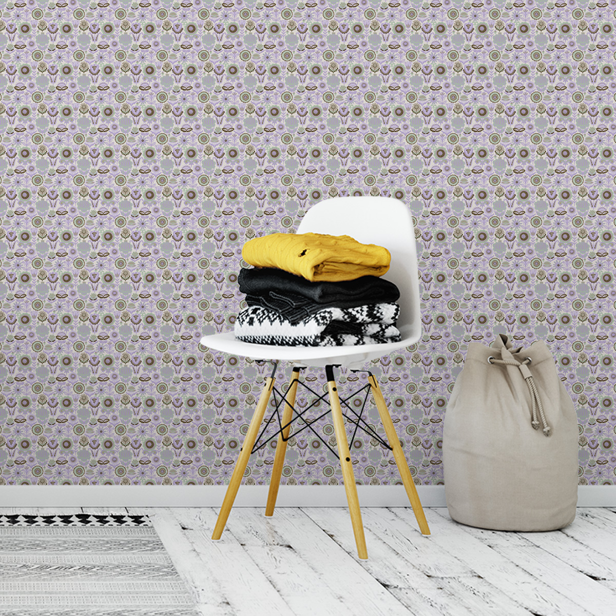 """Tapete für Büroräume grün: Mint grüne nostalgie Blüten Tapet """"Fiore della nostalgia"""", Vlies Tapete Blumen, folklore Blumentapete für Flur, Büro"""