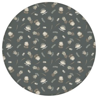 Graue, exotische Streublümchen Tapete mit kleinen Blüten, graue Vliestapete für Wohnzimmer