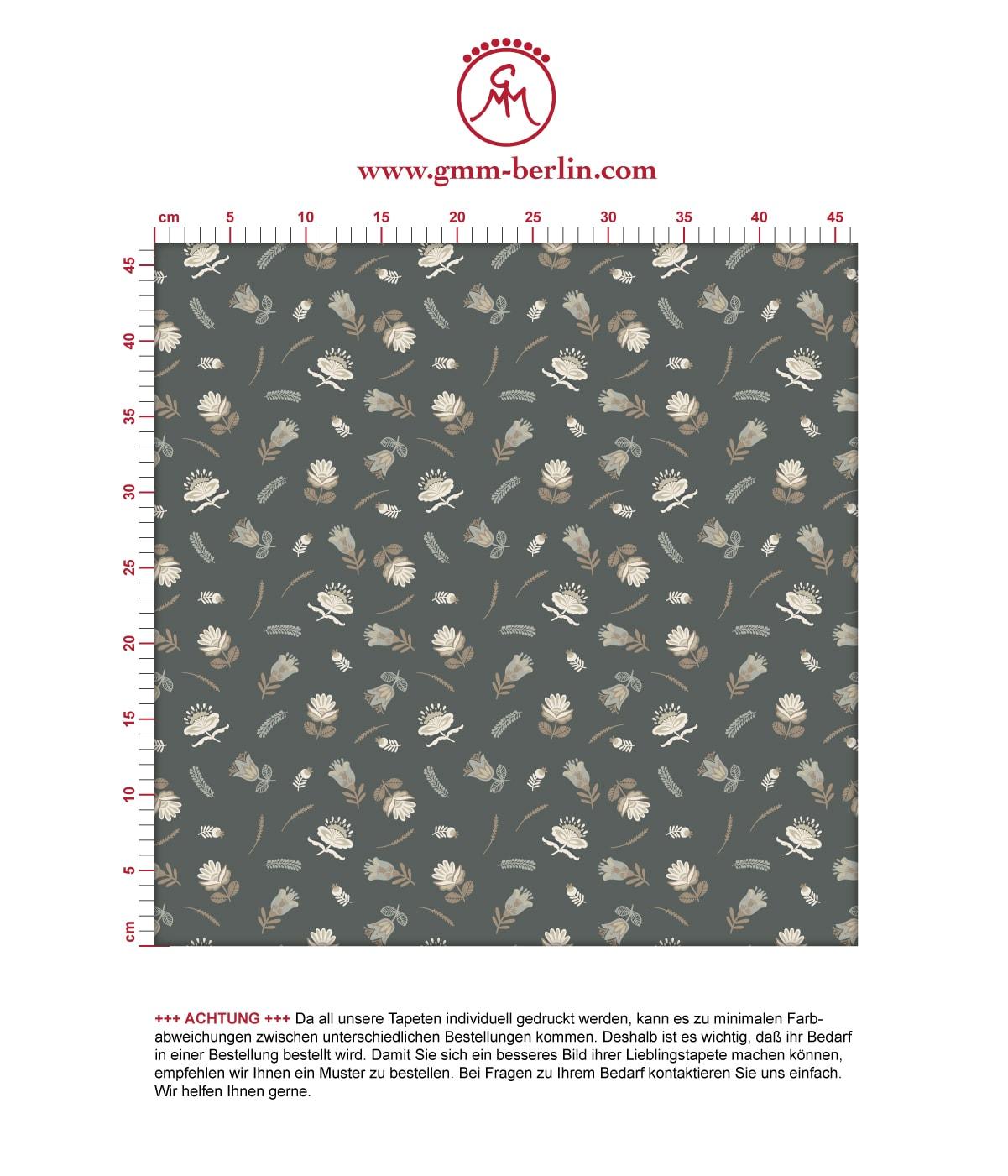 Graue, exotische Streublümchen Tapete mit kleinen Blüten, graue Vliestapete für Wohnzimmer. Aus dem GMM-BERLIN.com Sortiment: Schöne Tapeten in der Farbe: grau