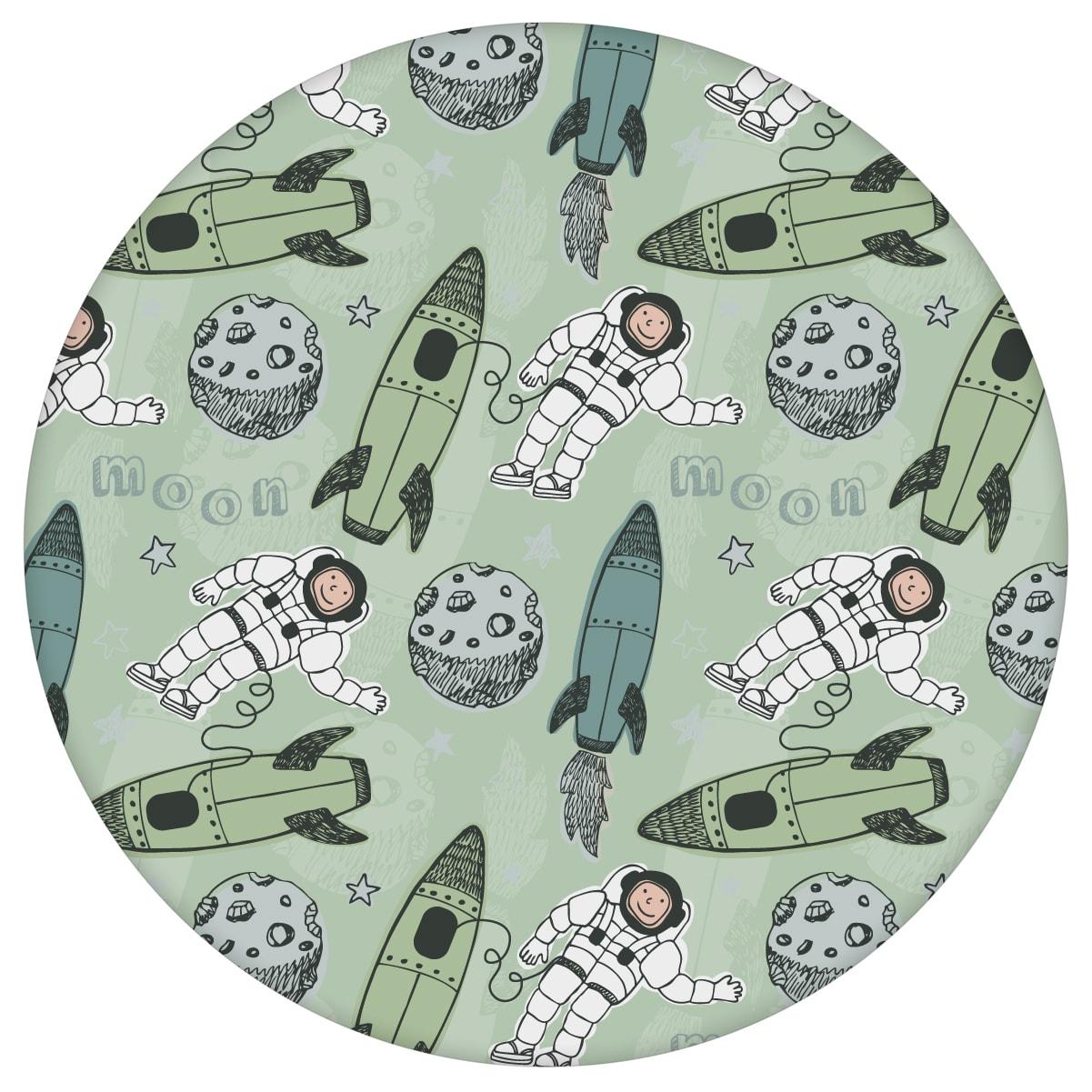 """Grüne Weltraum Kinderzimmer Tapete """"Rocket Moon"""", Vlies Kindertapete für Spielzimmer"""