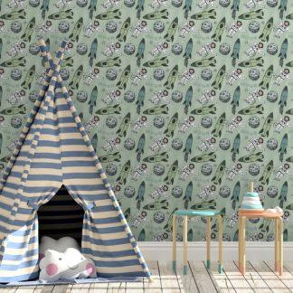 """Kindertapete grün: Grüne Weltraum Kinderzimmer Tapete """"Rocket Moon"""", Vlies Kindertapete für Spielzimmer"""