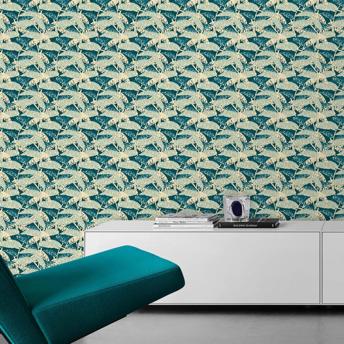"""Tapete für Büroräume grün: Grün blaue Tapete """"Wild Bananas"""" mit Blättern, Vlies Tapete üppige Blumentapete für Flur, Büro"""