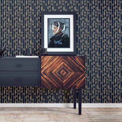 """Tapete Wohnzimmer mittelblau: Maritime Segler Tapete """"Segelknoten"""", dunkel blaue Vlies Tapete grafische Wandtapete für Wohnzimmer"""