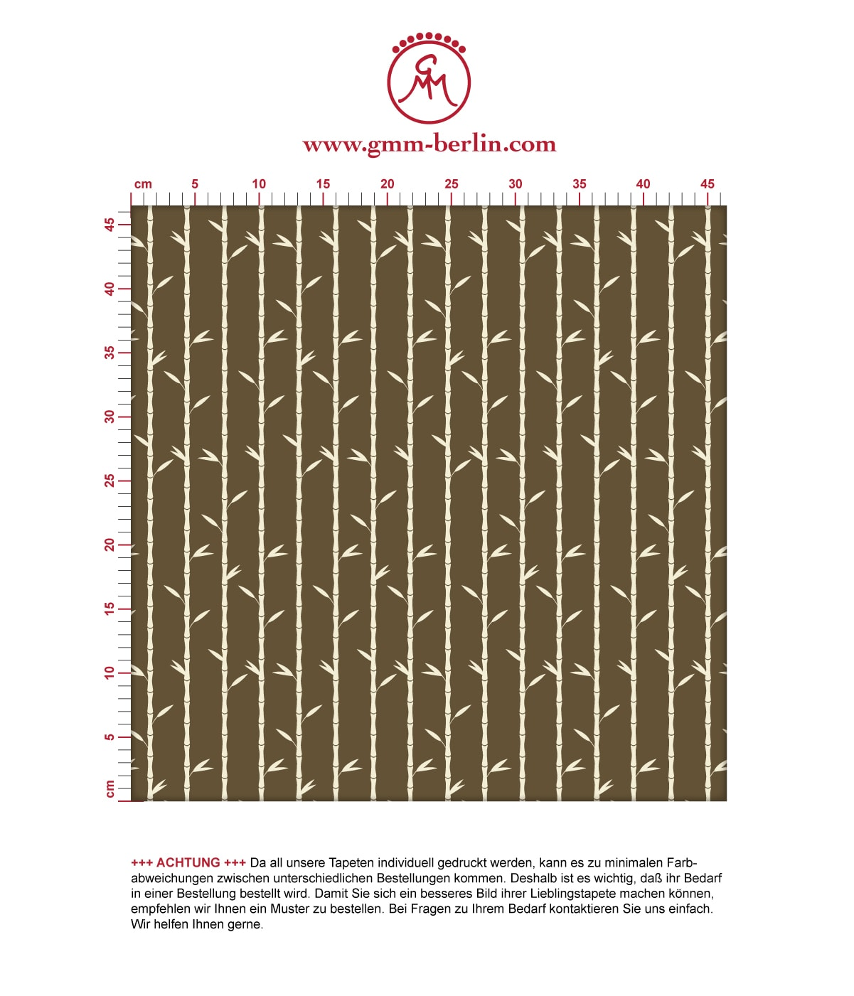 """Grafik Tapete """"Bamboo Garden"""" mit Bambus, braune schöne Wanddeko Blumentapete für Schlafzimmer. Aus dem GMM-BERLIN.com Sortiment: Schöne Tapeten in der Farbe: dunkel braun"""