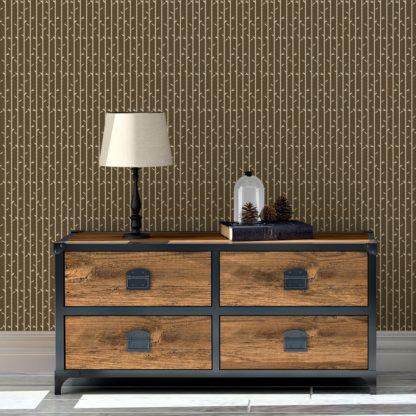 """Schlafzimmer tapezieren in dunkel braun: Grafik Tapete """"Bamboo Garden"""" mit Bambus, braune schöne Wanddeko Blumentapete für Schlafzimmer"""