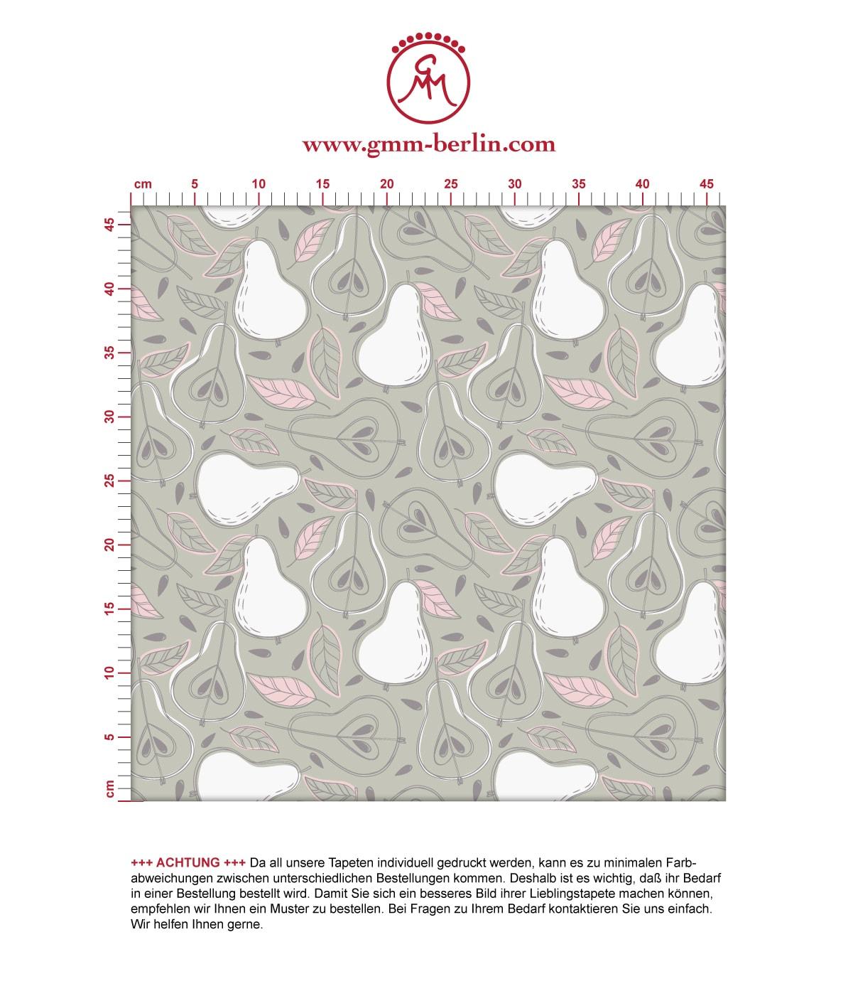 """Moderne rosa Tapete """"Williams Birne"""" in frischer Optik, Vlies Tapete Obst, schöne Wanddeko grafische Tapete für Wohnküche 2"""