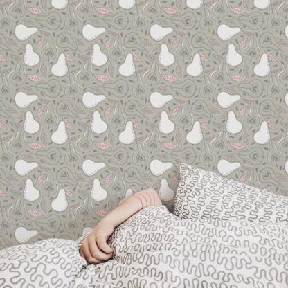 """Küchentapete pink: Moderne rosa Tapete """"Williams Birne"""" in frischer Optik, Vlies Tapete Obst, schöne Wanddeko grafische Tapete für Wohnküche"""