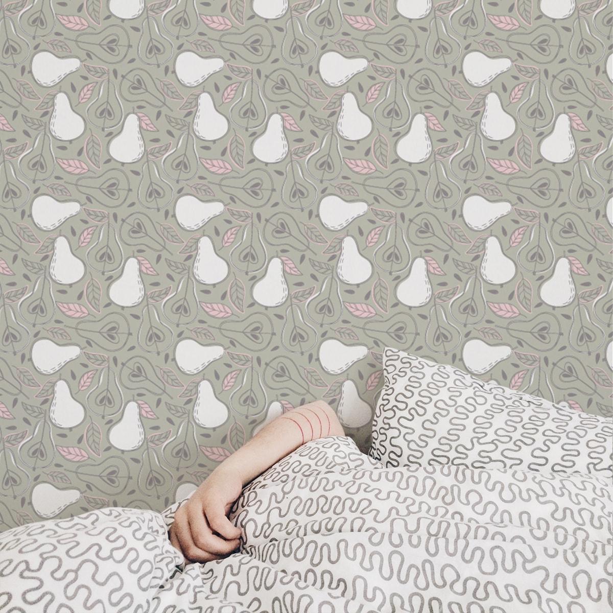 """Moderne rosa Tapete """"Williams Birne"""" in frischer Optik, Vlies Tapete Obst, schöne Wanddeko grafische Tapete für Wohnküche 3"""
