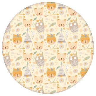 """Lustige Indianer Kinderzimmer Tapete """"Wildwest Tiere"""", vanille gelbe Kindertapete für Babyzimmeraus dem GMM-BERLIN.com Sortiment: gelbe Tapete zur Raumgestaltung: #00166 #Babyzimmer #gelbe Tapeten #Indianer #kinder #Kindertapete #tiere #vanille #Wildwest für individuelles Interiordesign"""