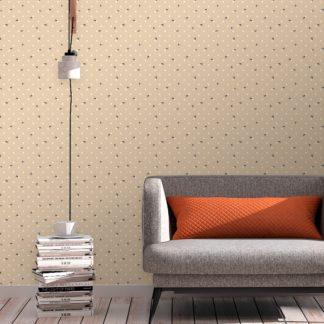 """Schöne Tapete """"Polka Bee"""" mit Bienen & Punkten, beige Vlies Tapete moderne Wanddeko für Schlafzimmer"""
