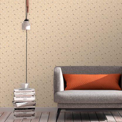 """Schlafzimmer tapezieren in creme: Schöne Tapete """"Polka Bee"""" mit Bienen & Punkten, beige Vlies Tapete moderne Wanddeko für Schlafzimmer"""