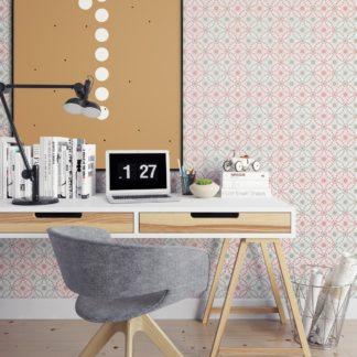 """Tapete Wohnzimmer pink: Rosa graue Tapete """"Charming Circles"""" mit Pfeil Kreisen, edle Wanddeko für Wohnzimmer"""