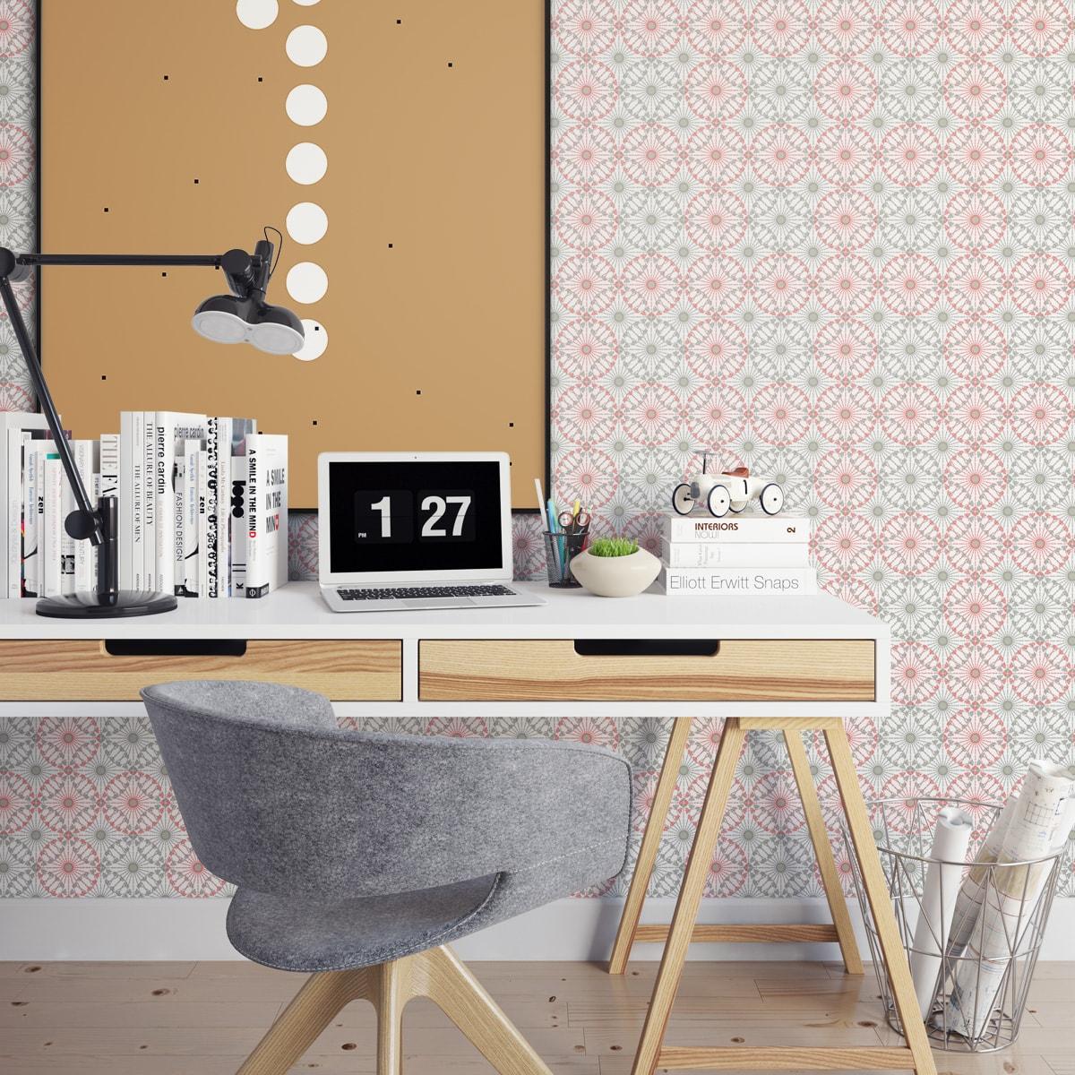 Tapete Wohnzimmer pink: Rosa graue Tapete