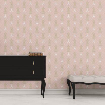 """Tapete für Büroräume pink: Schöne Tapete """"Fashionista"""" mit Kleiderpuppen Schnittmuster, rosa beige Vlies Tapete Ornamenttapete für Flur, Büro"""
