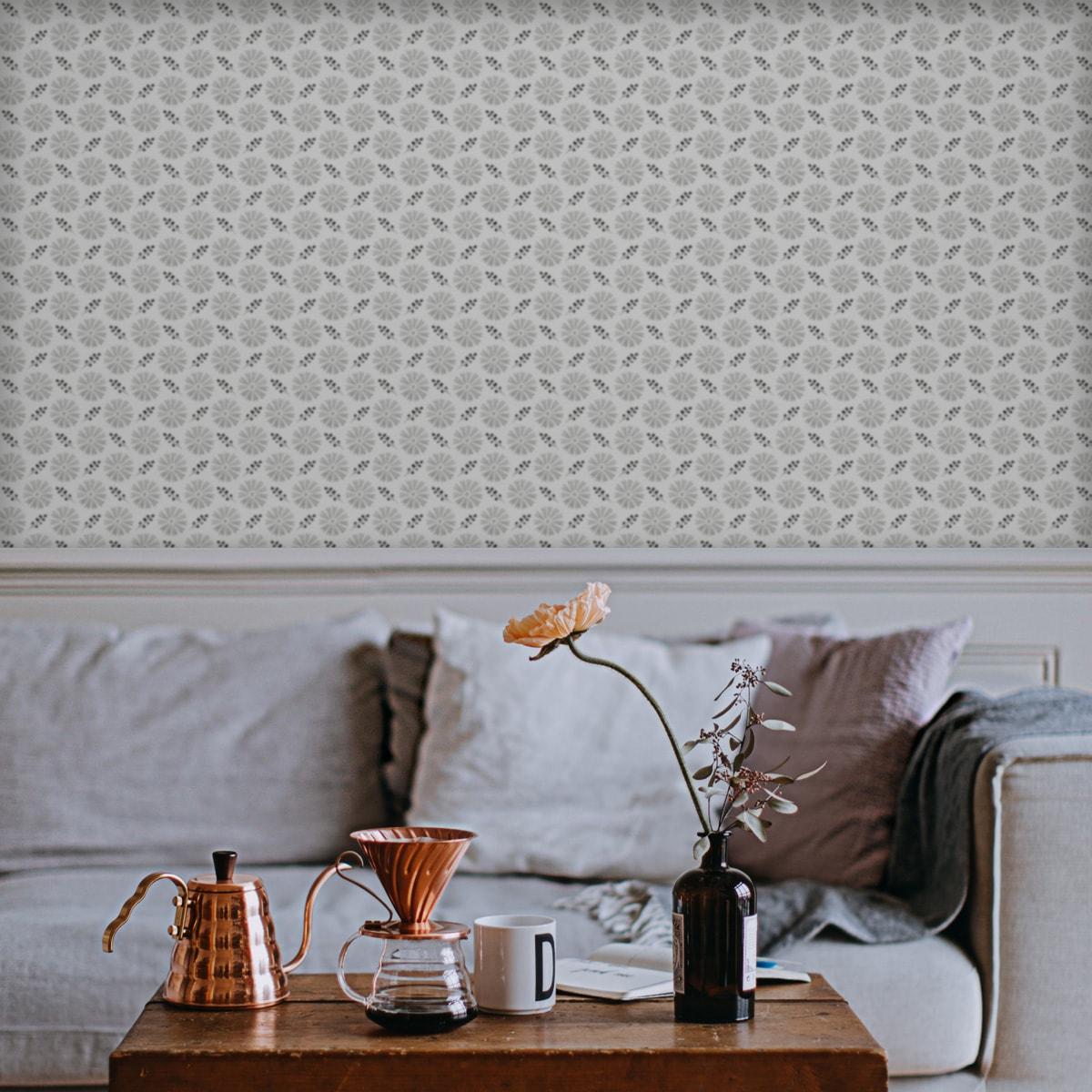 """Küchentapete schwarz: Blumentapete """"Blümchen Glück"""" mit Aquarell Look, graue klassische Vlies Tapete Blumen für Küche"""