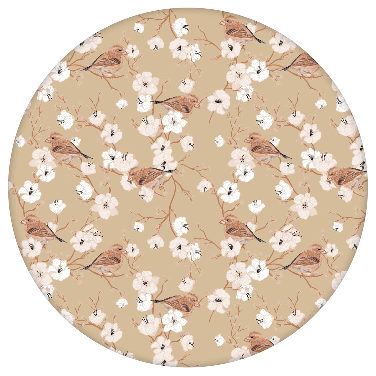 """Schöne Frühlings Tapete """"Kirschblüten Spatz"""" mit Vögeln, beige Vlies Tapete Blumen Tiere, Wanddeko für Wohnzimmeraus dem GMM-BERLIN.com Sortiment: beige Tapete zur Raumgestaltung: #00171 #beige #beige – cremefarbene Tapeten #blueten #blumen #Blumentapete #fruehling #Kirschblüte #Spatz #voegel #Wohnzimmer für individuelles Interiordesign"""