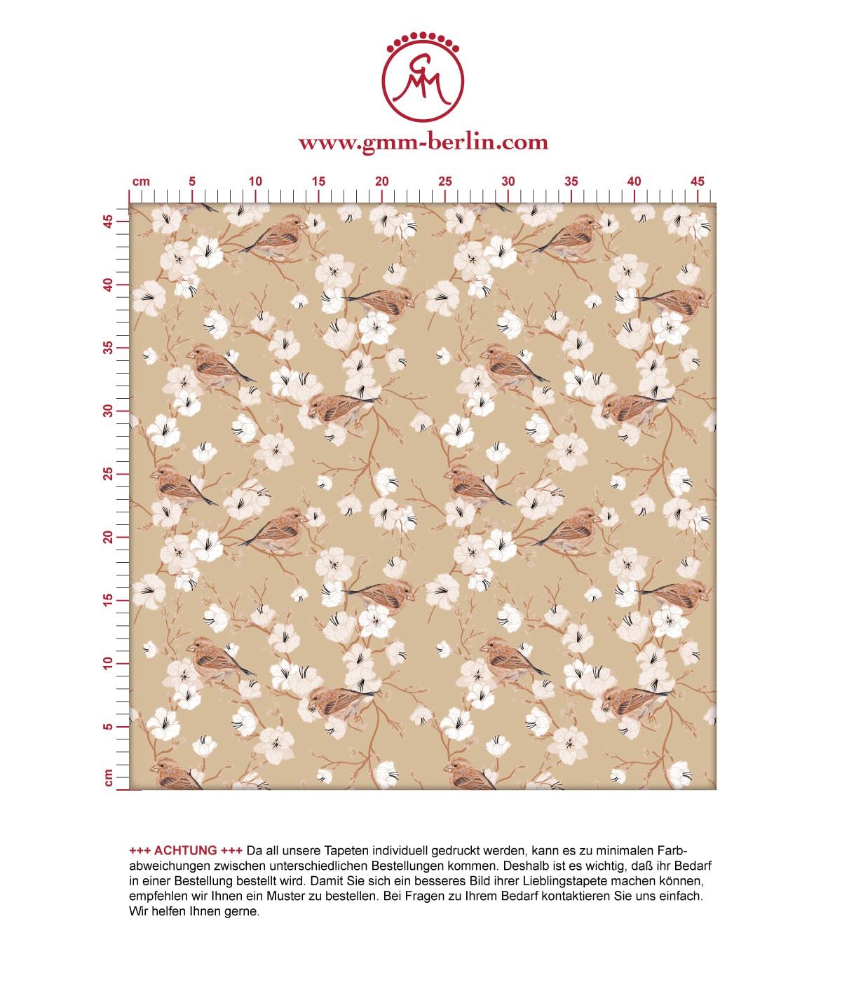 """Schöne Frühlings Tapete """"Kirschblüten Spatz"""" mit Vögeln, beige Vlies Tapete Blumen Tiere, Wanddeko für Wohnzimmer 2"""
