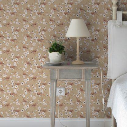 """Tapete Wohnzimmer creme: Schöne Frühlings Tapete """"Kirschblüten Spatz"""" mit Vögeln, beige Vlies Tapete Blumen Tiere, Wanddeko für Wohnzimmer"""