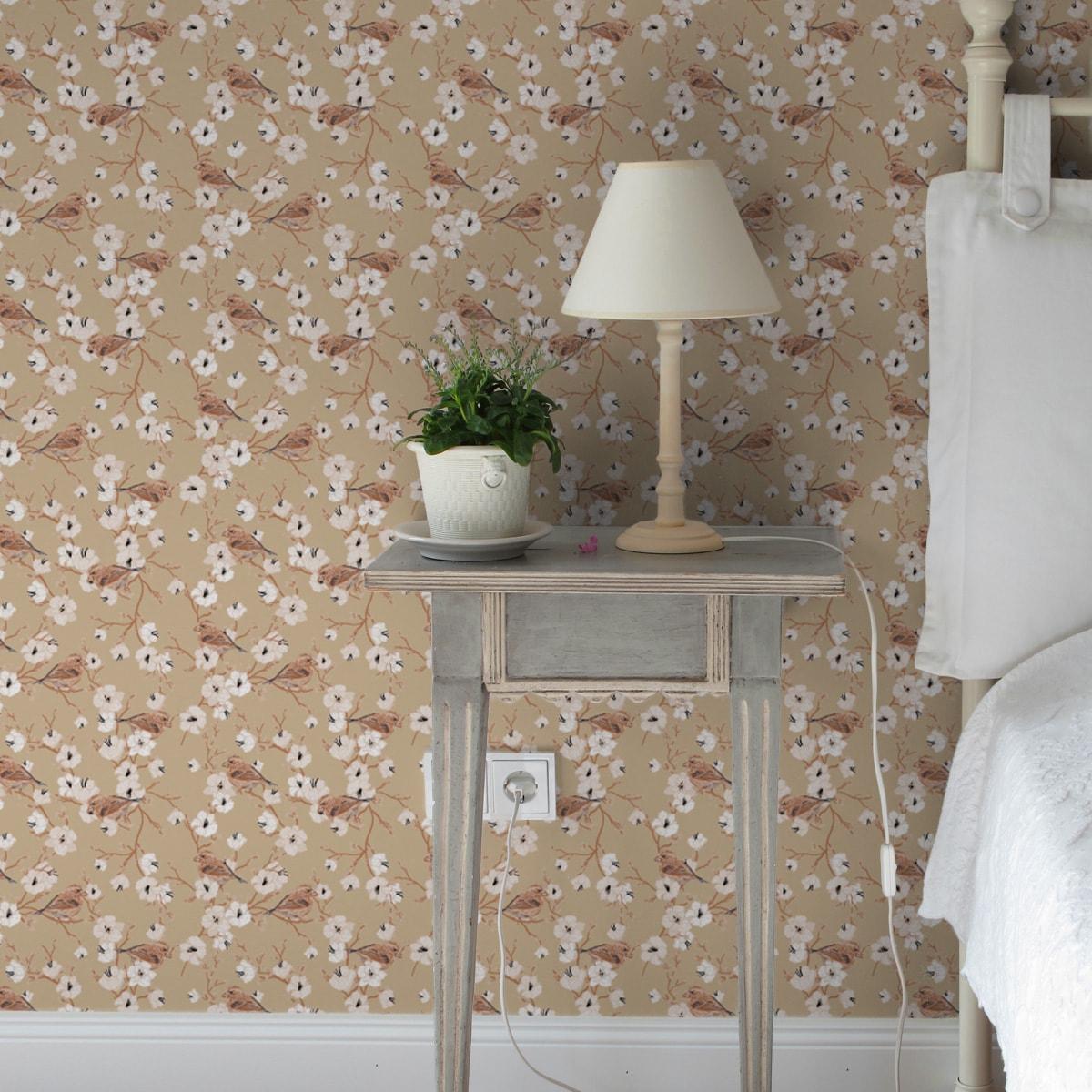 """Schöne Frühlings Tapete """"Kirschblüten Spatz"""" mit Vögeln, beige Vlies Tapete Blumen Tiere, Wanddeko für Wohnzimmer 3"""