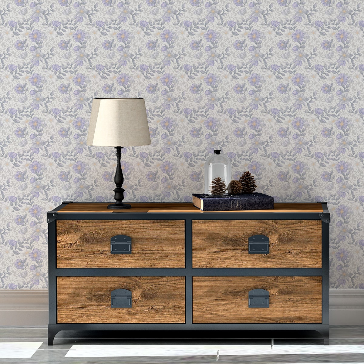 """Tapete für Büroräume schwarz: Elegante Tapete """"Hibiskus Garten"""" mit üppigen Blüten, graue Vlies Tapete Blumentapete für Flur, Büro"""