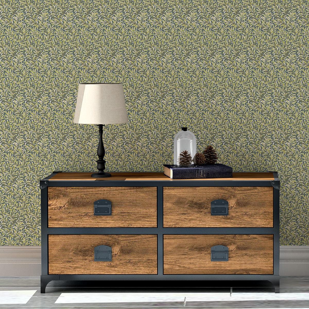 Schlafzimmer tapezieren in grün: William Morris Jugendstil Tapete