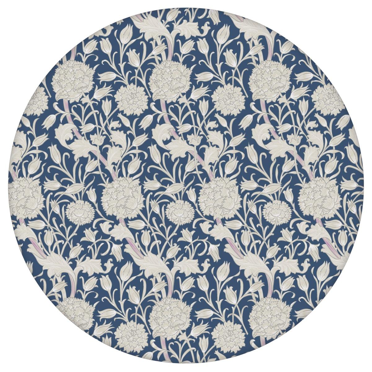 """Vintage Jugendstil Tapete """"Tulpen und Narzissen"""" nach William Morris, dunkel blaue Blumentapete für Schlafzimmer"""