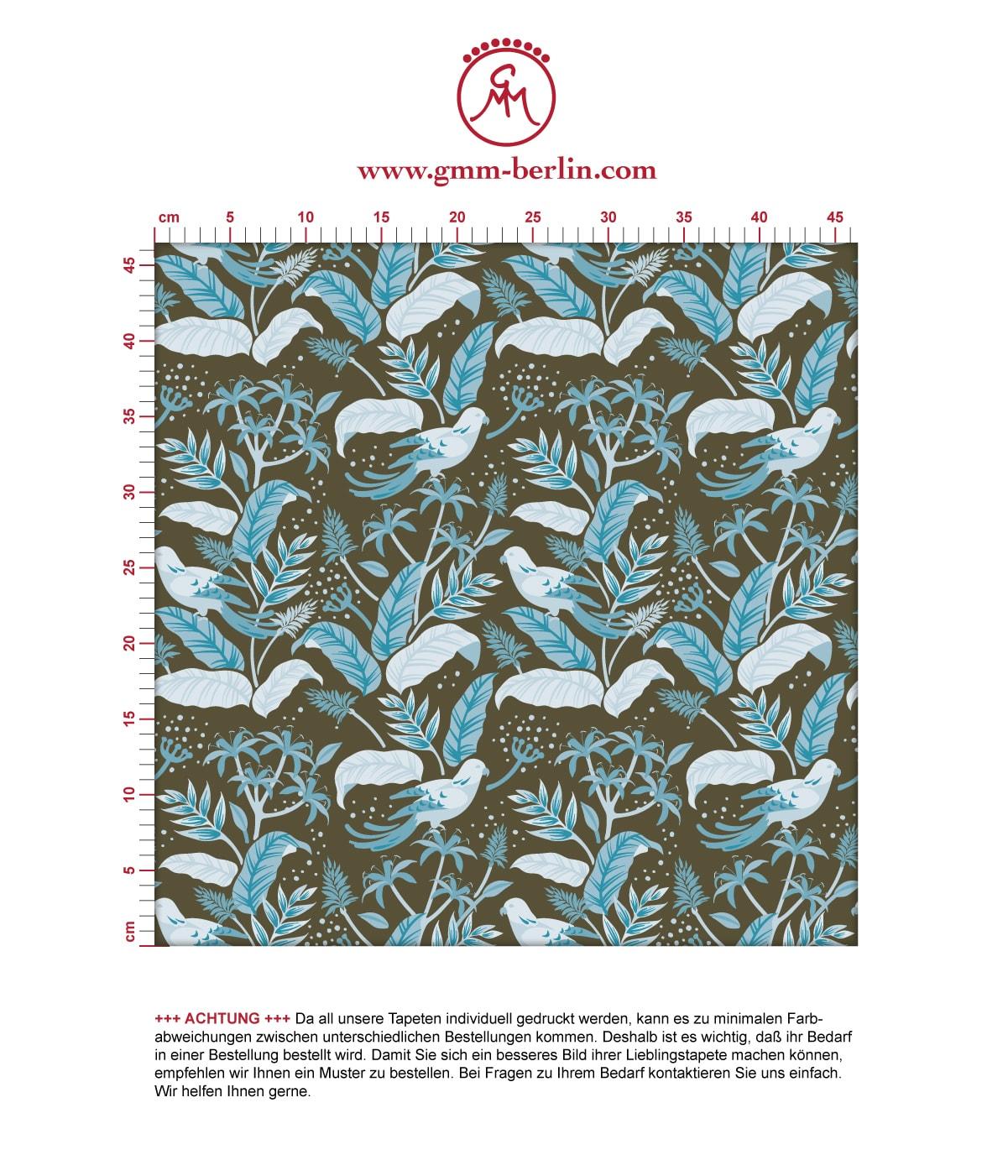 Tropische Wild Birds Tapete mit Dschungel aus der Tapeten Design Familie: 00175 als Naturaltouch Luxus Vliestapete oder Basic Vliestapete