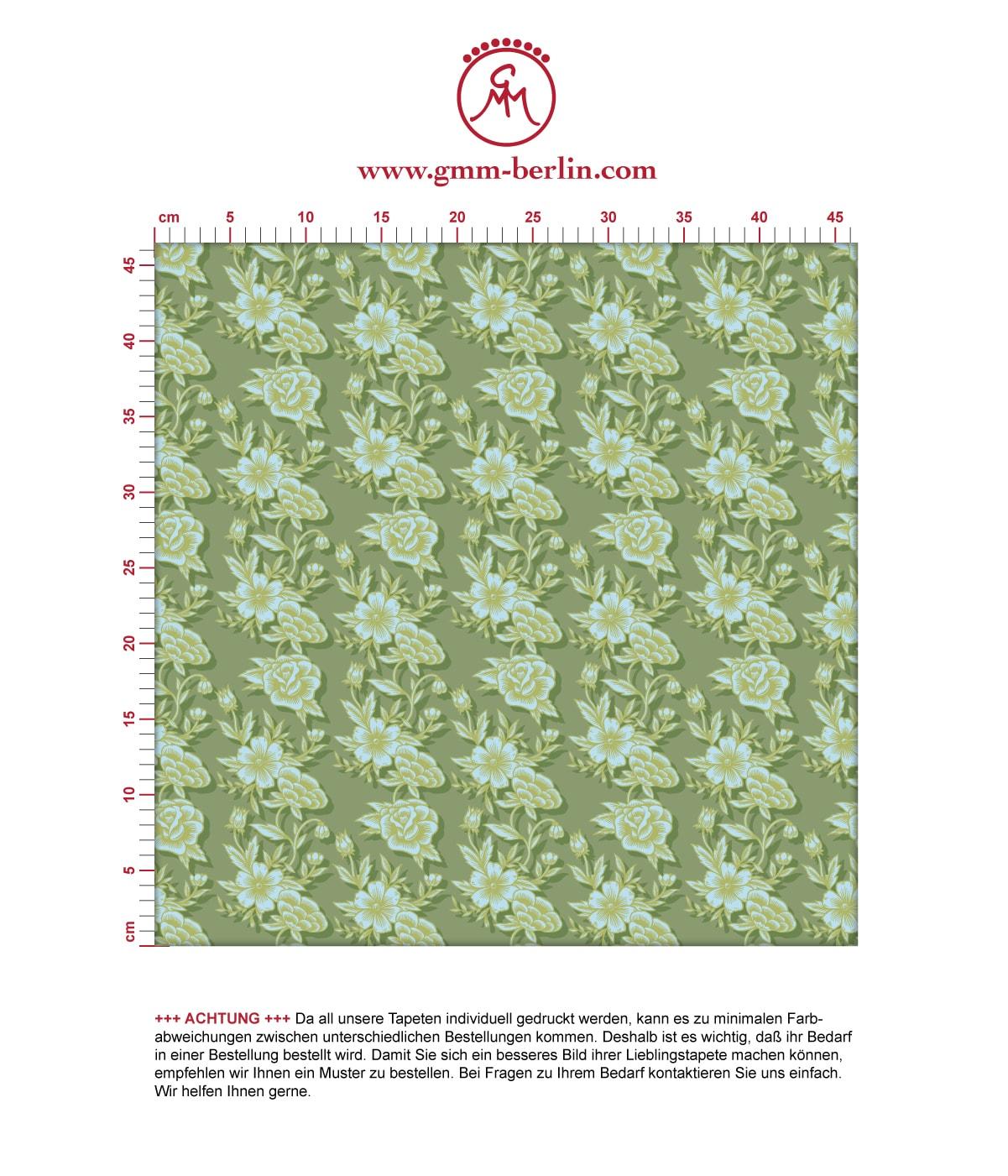 Grüne Blümchen Tapete