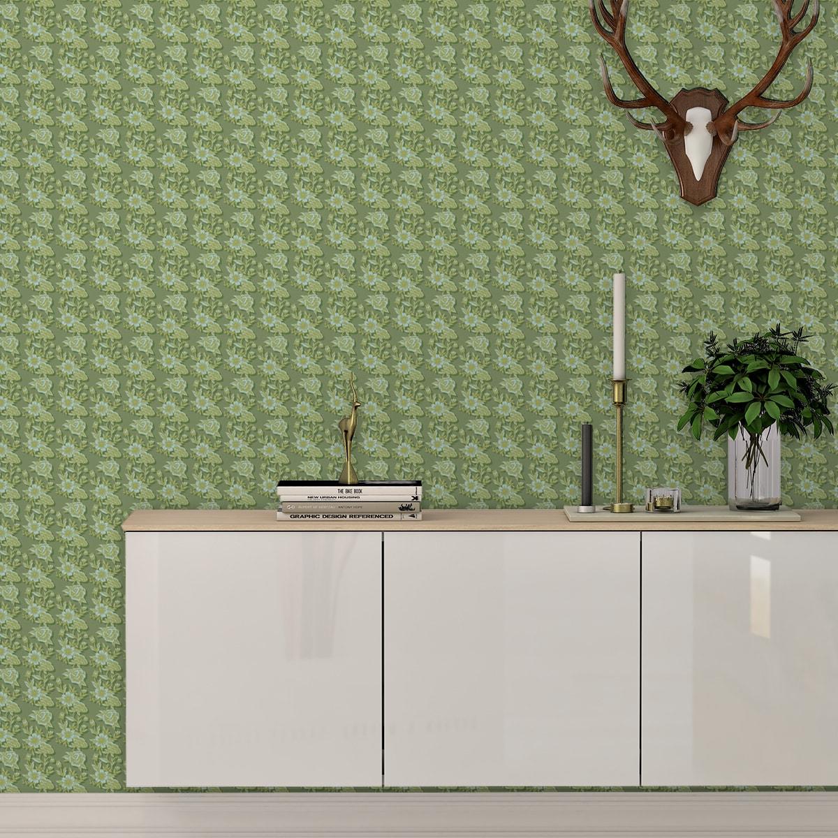 """Küchentapete grün: Grüne Blümchen Tapete """"Les fleurs du chateau"""", grüne Vlies Tapete Blumen, schöne Blumentapete für Küche"""
