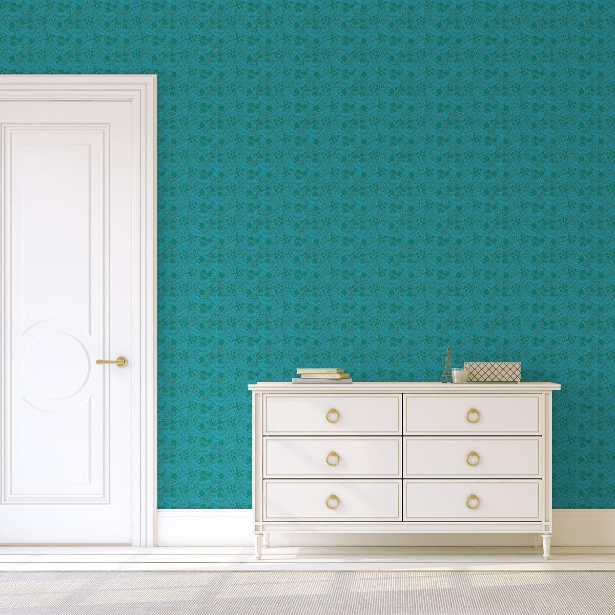 "Türkis grüne, Jugendstil Tapete ""Délice florale"" nach William Morris kleiner Rapport Vlies Ornamenttapete für Flur, Büro"
