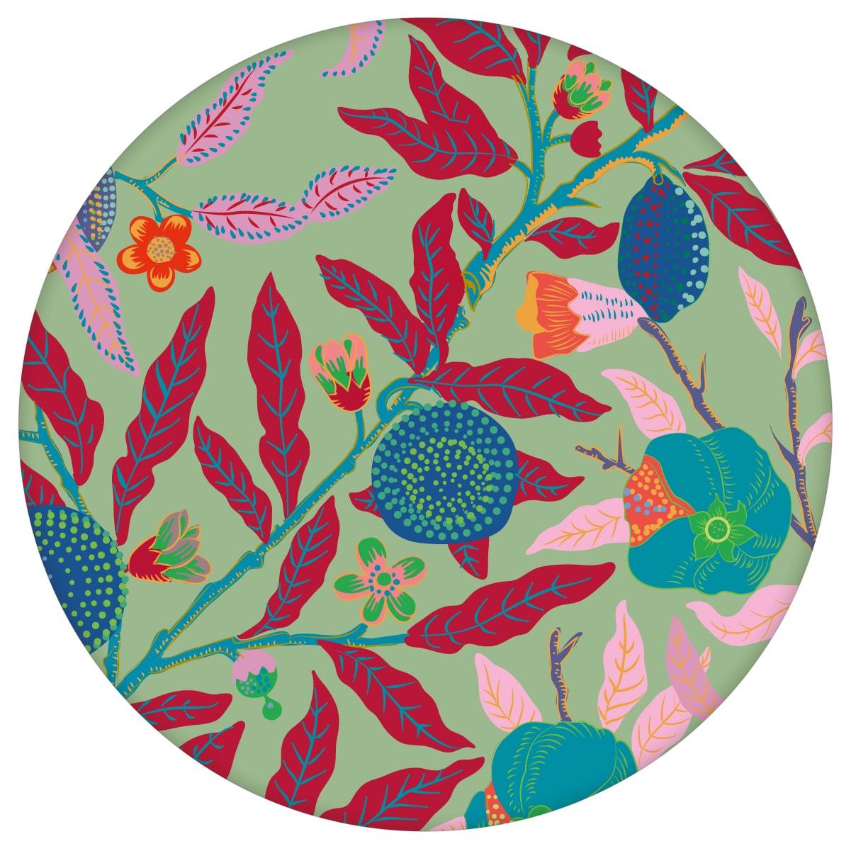 """Designer Jugendstil Tapete """"Granatapfel Baum"""" nach William Morris, grüne Vlies Tapete Blumen Natur, schöne Blumentapete für Flur, Büro  3"""