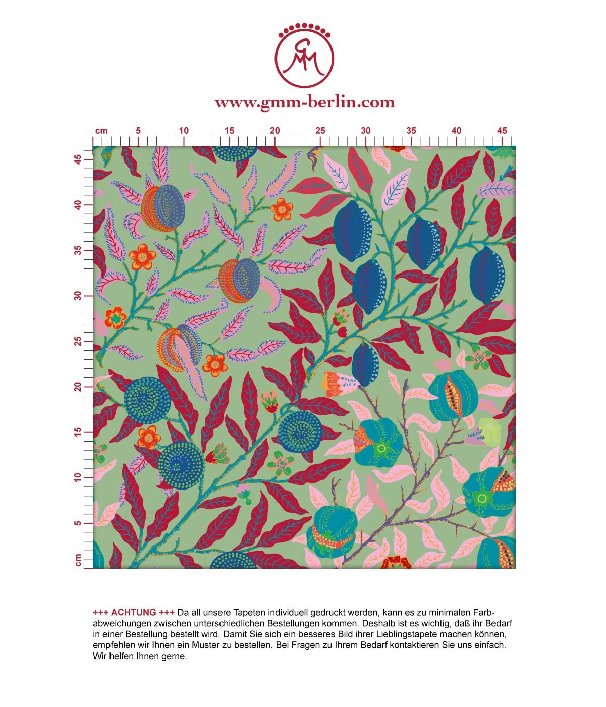 """Designer Jugendstil Tapete """"Granatapfel Baum"""" nach William Morris, grüne Vlies Tapete Blumen Natur, schöne Blumentapete für Flur, Büro  2"""