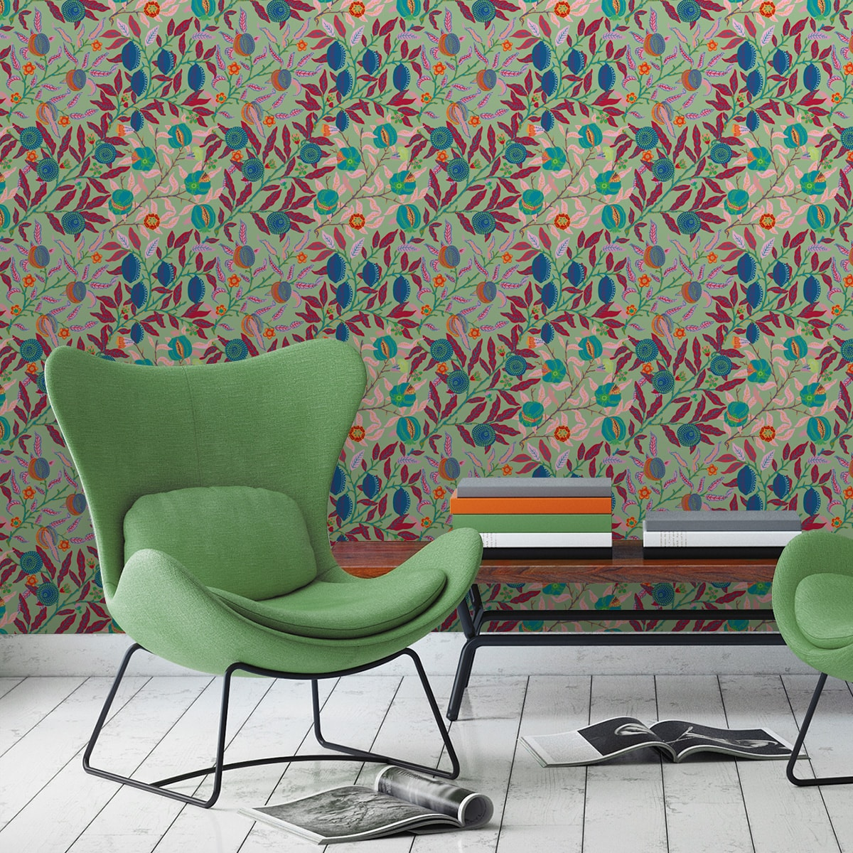 """Designer Jugendstil Tapete """"Granatapfel Baum"""" nach William Morris, grüne Vlies Tapete Blumen Natur, schöne Blumentapete für Flur, Büro"""