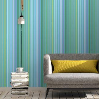 """Moderne Classic Tapete """"dekorativer Streifen"""" in edlen Farben, grün blaue Streifen Vliestapete Streifen für Küche"""