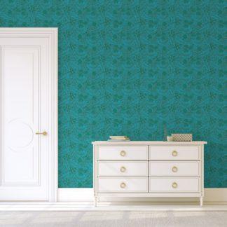 """Edle William Morris Jugendstil Tapete """"Délice florale"""", türkis grüne Vlies Tapete, großer Rapport Wanddeko für Wohnzimmer"""