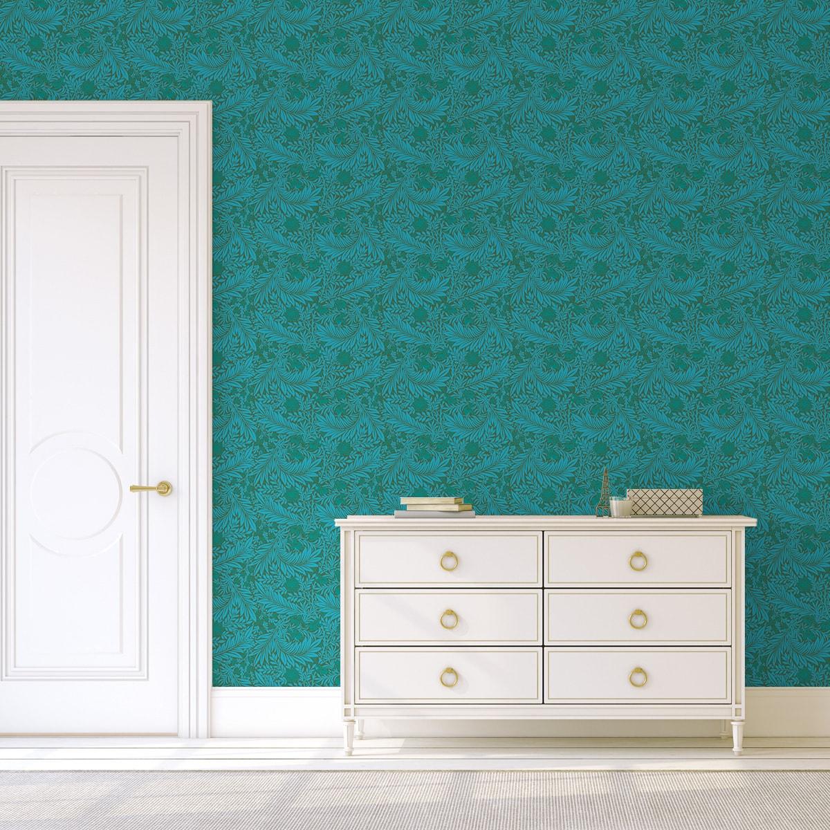 Tapete Wohnzimmer grün: Edle William Morris Jugendstil Tapete