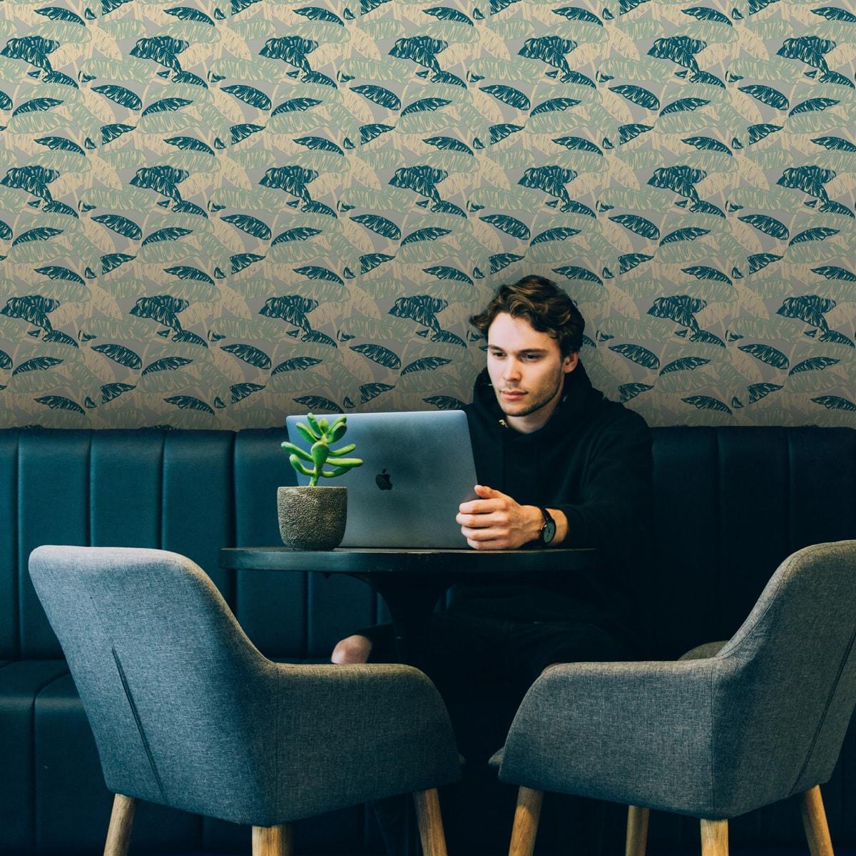 Tapete Wohnzimmer grün: Moderne, mint grüne Tapete