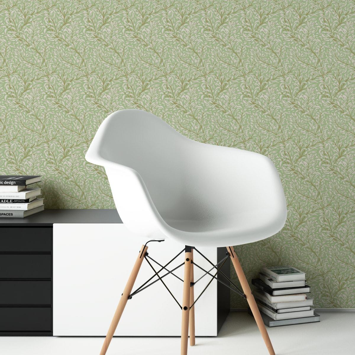 """Jugendstil Tapete """"Wilde Weiden"""" nach William Morris, grüne Vlies Tapete Blumen Natur, schöne Blumentapete für Flur, Büro"""