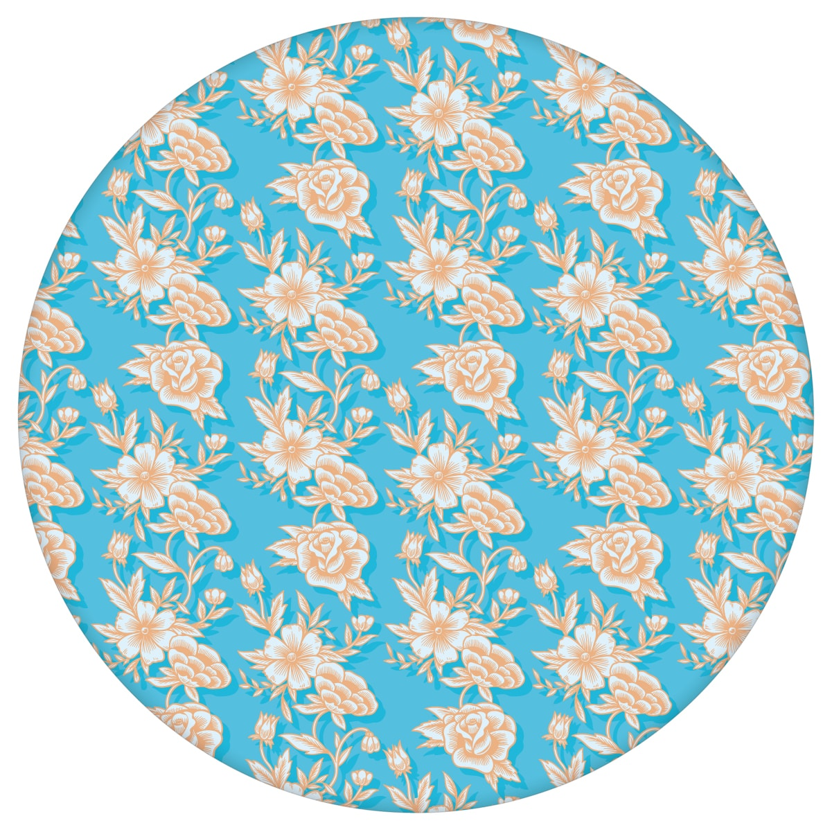 """Designer Blümchen Tapete """"Les fleurs du chateau"""", hellblau orange Vlies Blumentapete für Wohnzimmer"""