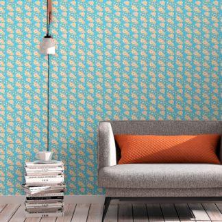 """Tapete Wohnzimmer mittelblau: Designer Blümchen Tapete """"Les fleurs du chateau"""", hellblau orange Vlies Blumentapete für Wohnzimmer"""
