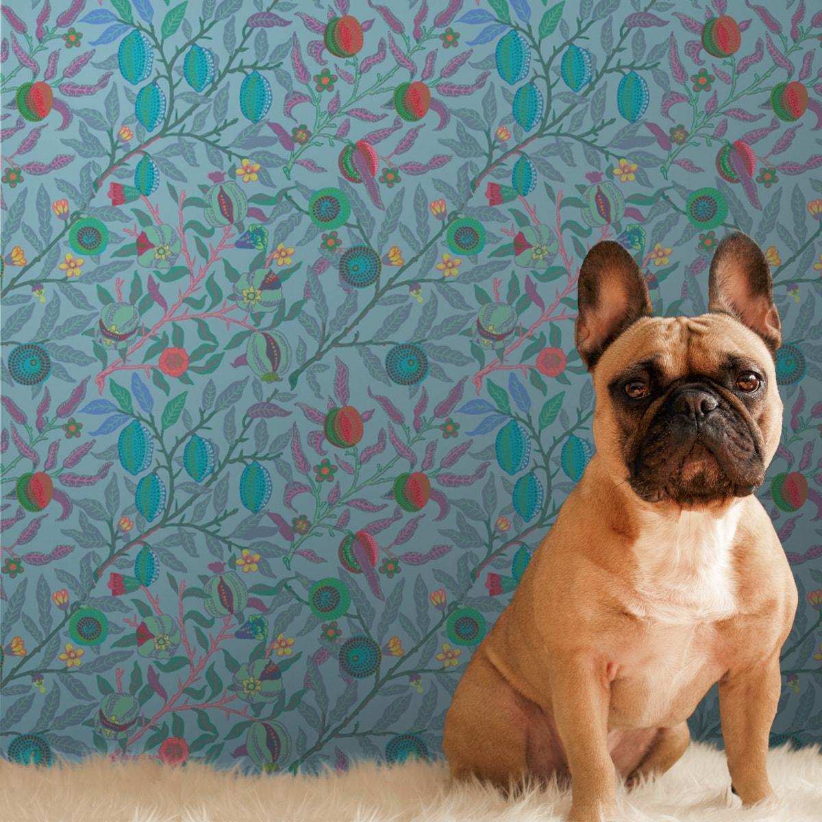 Barock Tapete in hellem blau/ türkis aus der Tapeten Design Familie: 0013t als Naturaltouch Luxus Vliestapete oder Basic Vliestapete