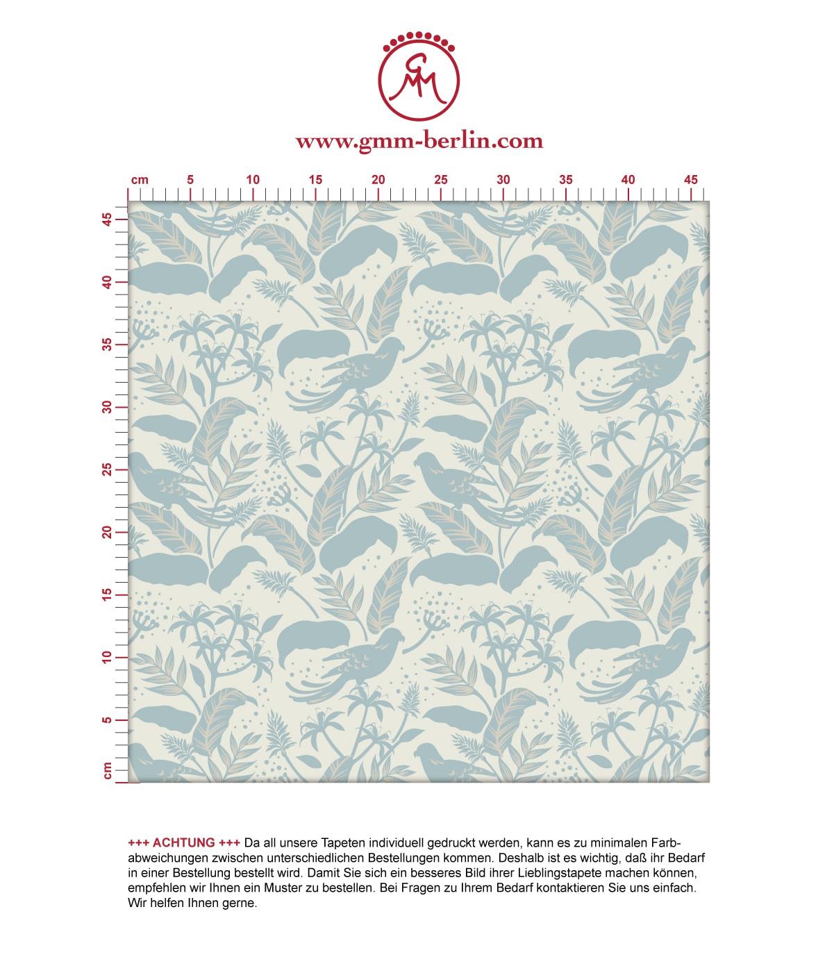 Aus dem GMM-BERLIN.com Sortiment: Schöne Tapeten in der Farbe: mittelblau,. Schöne Wandgestaltung: Tropische Vogel Tapete Wild Birds im #blätter #dschungel #papagei #tiere #tropisch #vogel für individuelles Interiordesign