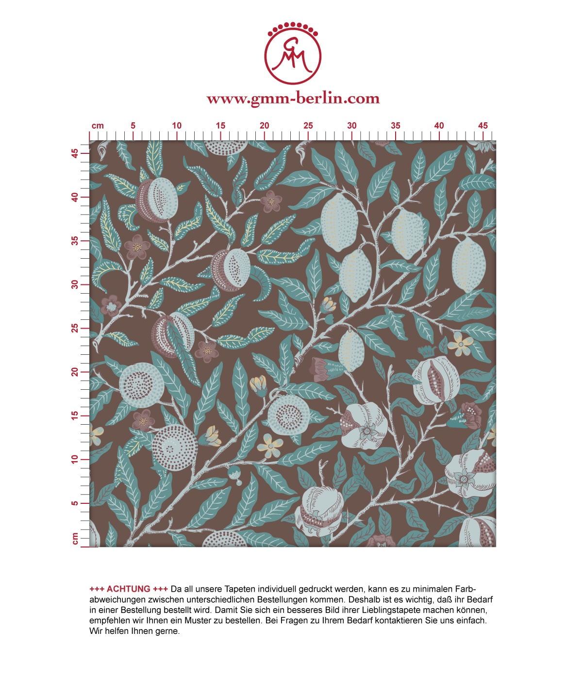 Edle Jugendstil Tapete Granatapfel Baum nach aus der Tapeten Design Familie: 00178 als Naturaltouch Luxus Vliestapete oder Basic Vliestapete