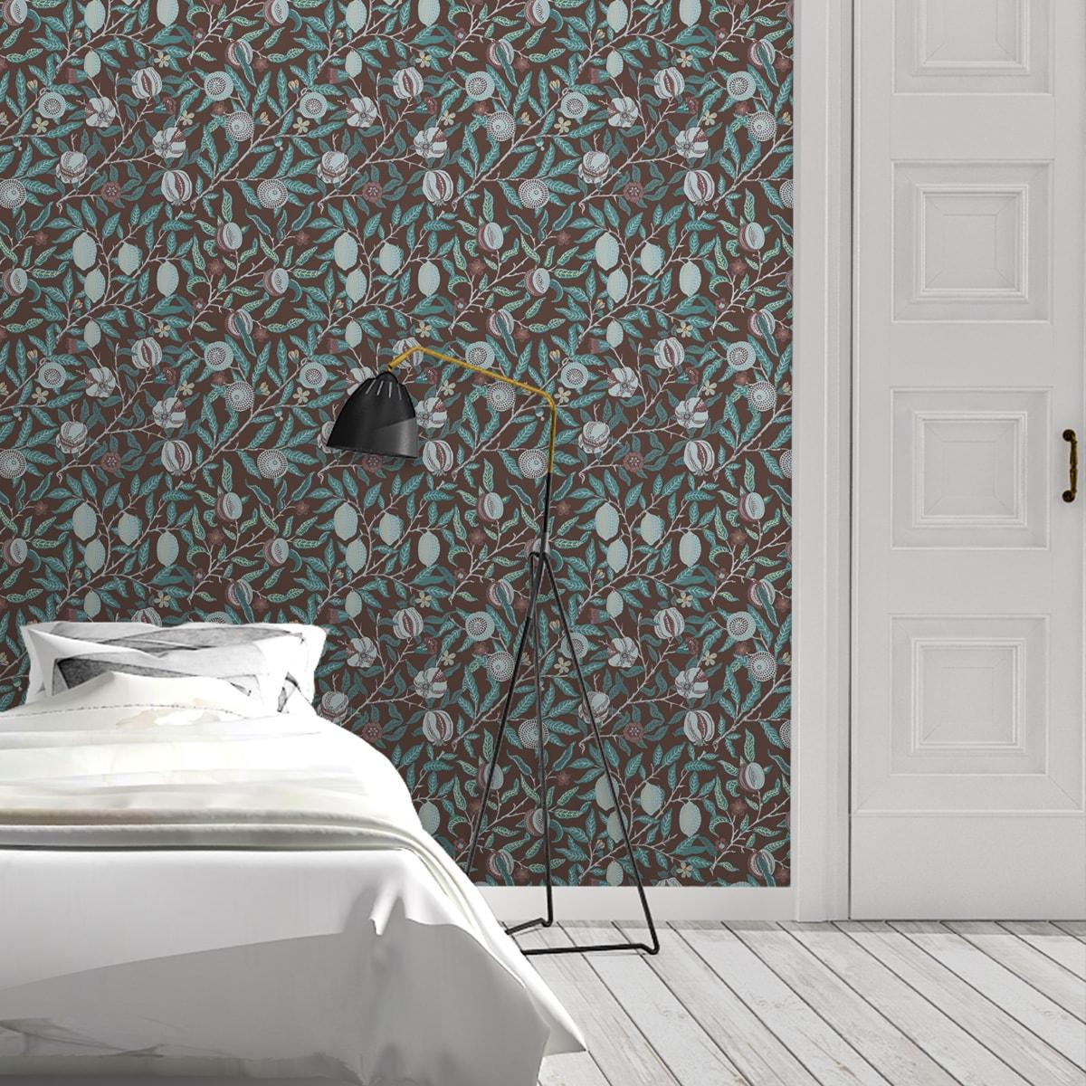 """Edle Jugendstil Tapete """"Granatapfel Baum"""" nach William Morris, braune Vlies Tapete Blumen Natur, schöne Blumentapete für Küche"""