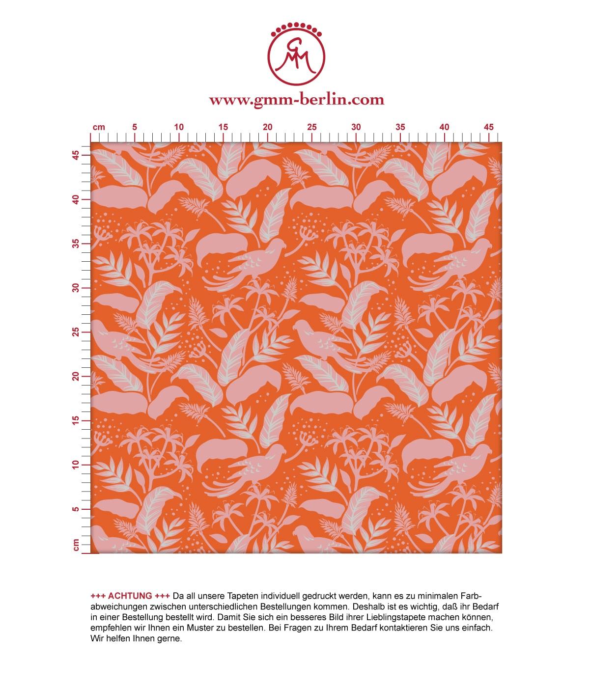 """Moderne Tapete """"Wild Birds"""" mit tropischen Dschungel Vögeln, orange rosa Vlies Tapete Blumen Tiere für Flur, Büro  2"""