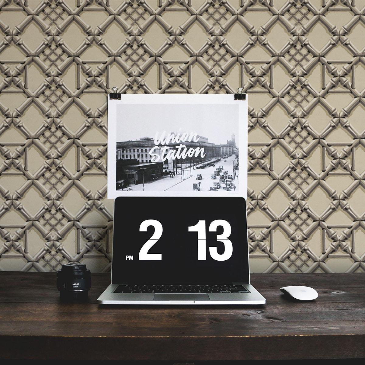 Beige Wohnzimmer Tapete: Historische Vliestapete