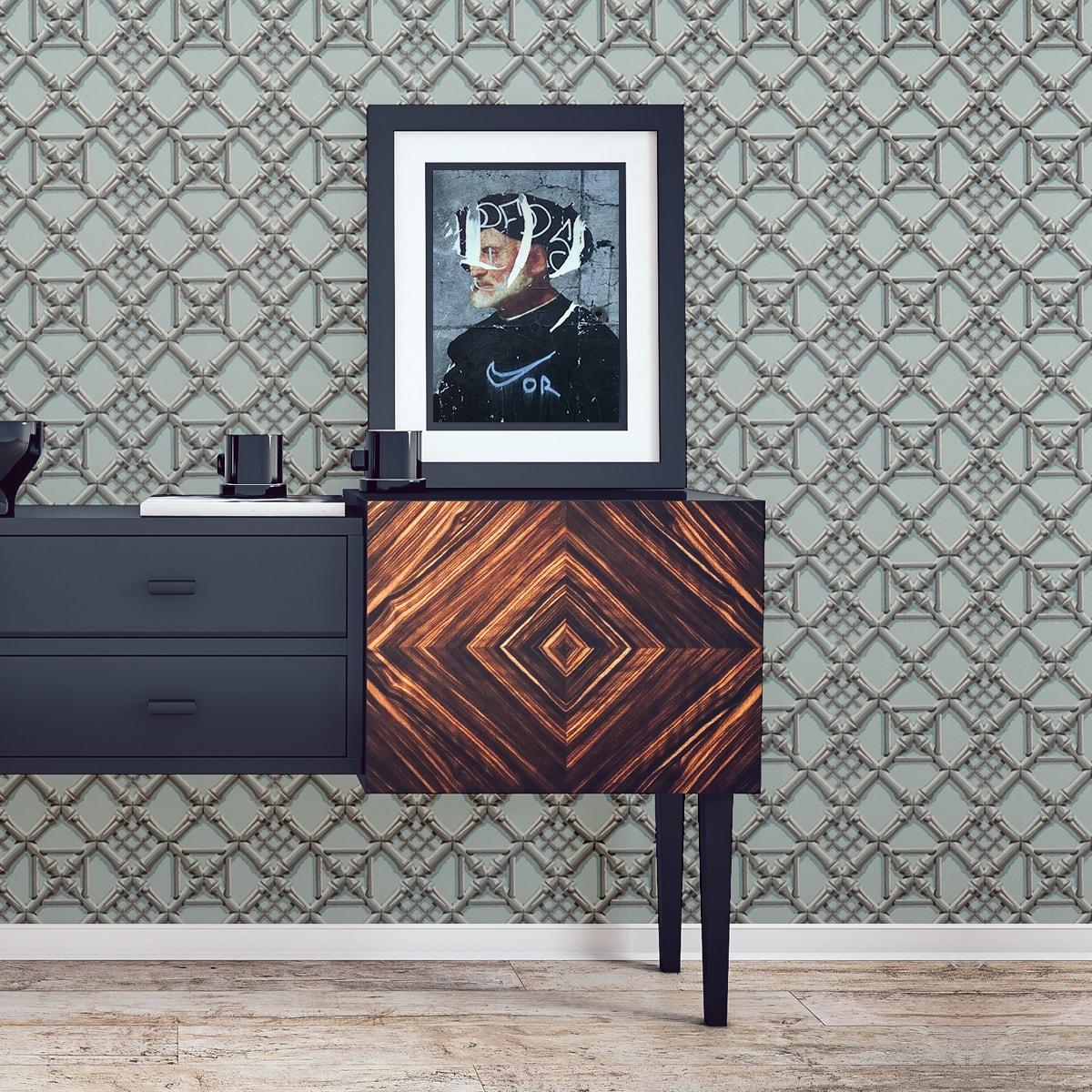 """Hellblaue Wohngestaltung: Historische Tapete """"Bambusgitter"""", klassische, grafische Vlies-Tapete Wohnakzent für Esszimmer"""